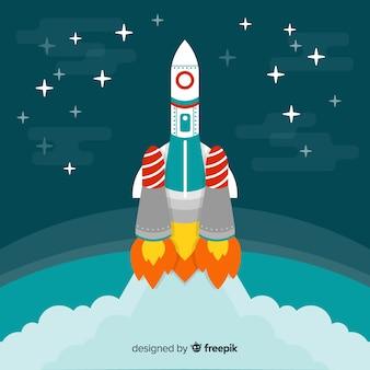 現代手描き宇宙ロケット