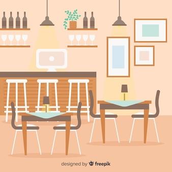 手描きのモダンなレストランのインテリア