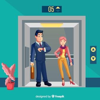 エレベーターのカップル