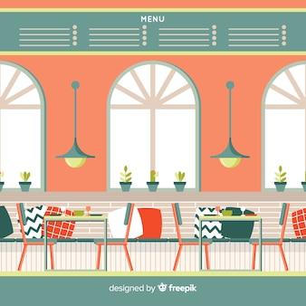フラットデザインのモダンなレストランインテリア