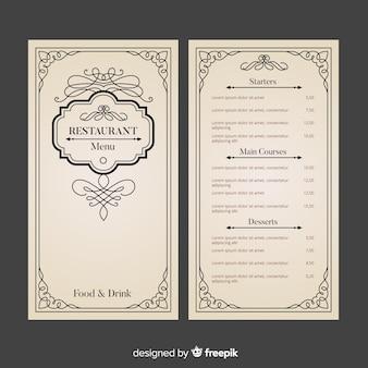 Шаблон меню ресторана с элегантными орнаментами