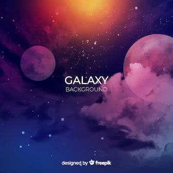 カラフルな水彩銀河の背景