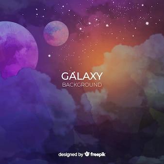 Красочный акварельный фон галактики