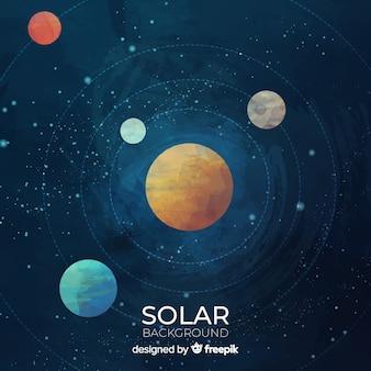 カラフルな水彩ソーラーシステムのスキーム