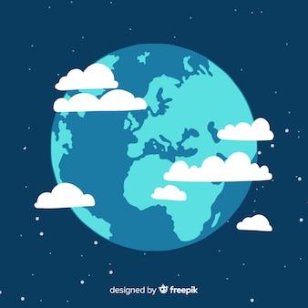 Прекрасная планета земля с плоской конструкцией
