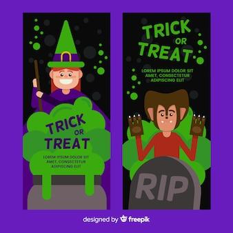 Набор баннеров хэллоуина в плоском дизайне