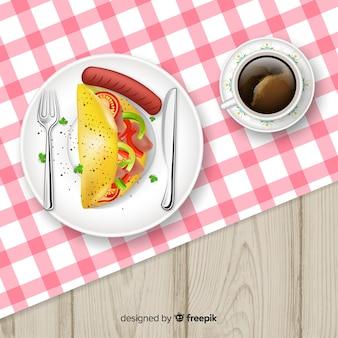 Вид на ресторанный стол с реалистичным дизайном