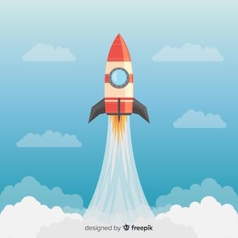フラットデザインのカラフルなロケット構成