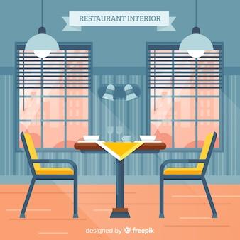 Элегантный интерьер ресторана с плоским дизайном