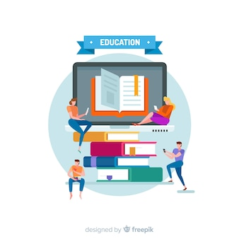 フラットデザインの現代教育概念