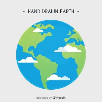 手描きのスタイルで素敵な惑星地球