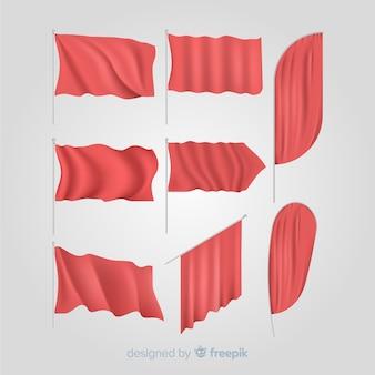 赤い織物の旗のセット