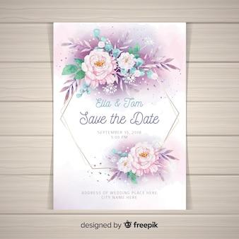 Шаблон свадебного приглашения с красивыми цветами пиона