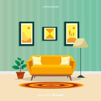 Современная гостиная с плоским дизайном