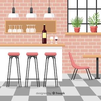 フラットデザインのエレガントなレストランインテリア