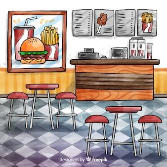 水彩のエレガントなレストランのインテリア