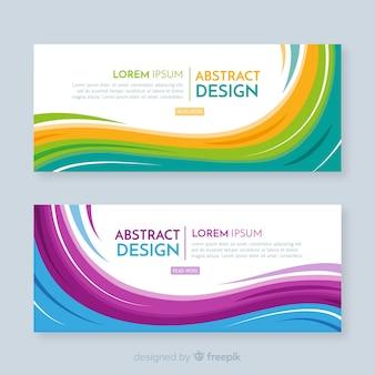Современные абстрактные баннеры с плоским дизайном