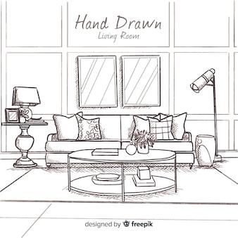手描きのモダンなリビングルーム
