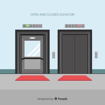 Концепция лифта с открытой и закрытой дверью в плоском стиле