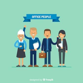 フラットデザインの現代オフィスの人々の構成