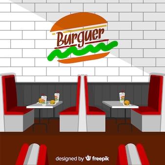 フラットなデザインのエレガントなレストラン