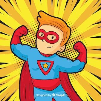 Характер супергероя с стилем поп-арта