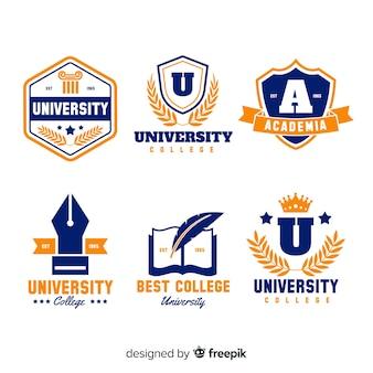 Красочная коллекция логотипов университета с плоским дизайном