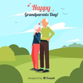 フラットな祖父母の日の背景