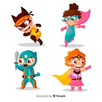 様々なスーパーヒーローの子供のセット