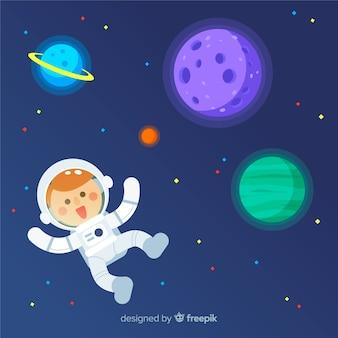 フラットデザインの現代宇宙飛行士キャラクター