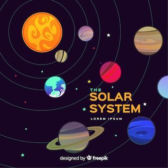 フラットデザインのカラフルなソーラーシステム構成