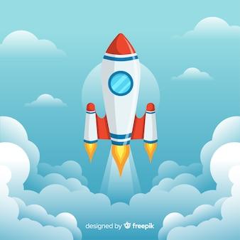フラットデザインの素敵な宇宙ロケット