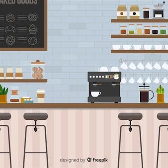 フラットデザインのモダンなコーヒーショップインテリア