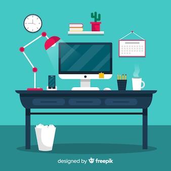 フラットデザインのカラフルなオフィスデスク