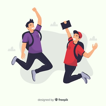 Счастливые студенты прыгают с плоским дизайном