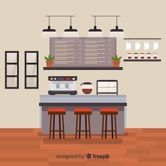 Современный интерьер кофейни с плоским дизайном