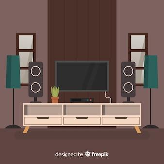 フラットデザインのモダンなリビングルーム