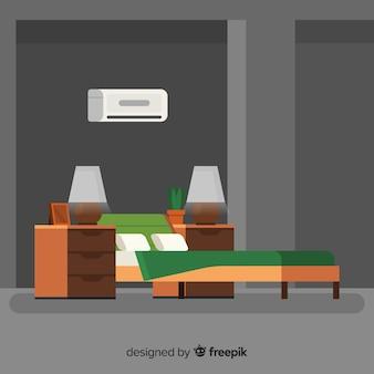 フラットデザインのモダンなベッドルームインテリア