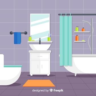Цветной интерьер ванной комнаты с плоским дизайном