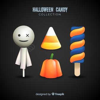 現実的なデザインのカラフルなハロウィンキャンディーコレクション
