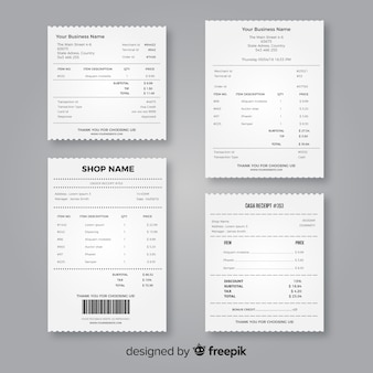 現実的なデザインのレシートテンプレートコレクション