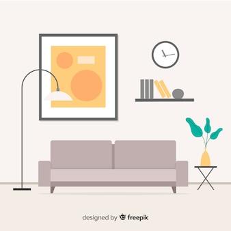 Современный дизайн интерьера гостиной с плоским дизайном