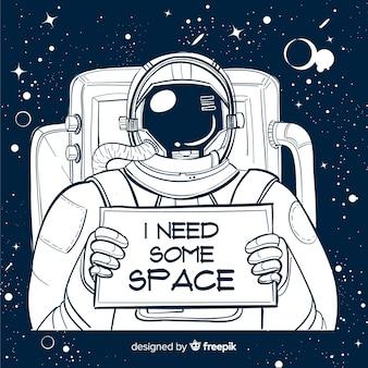 現代手描きの宇宙飛行士のキャラクター
