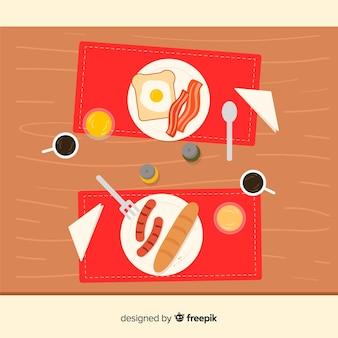 フラットデザインのエレガントなレストランのテーブルのトップビュー
