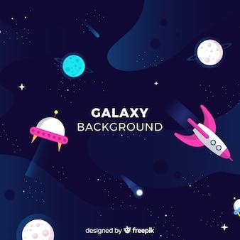 Прекрасный фон галактики с плоским дизайном