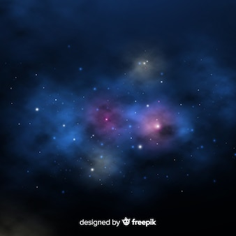 現実的なデザインのカラフルな銀河の背景