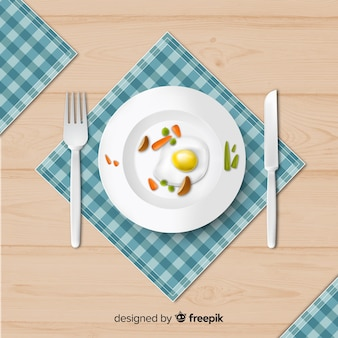 Вид сверху элегантного стола ресторана с реалистичным дизайном