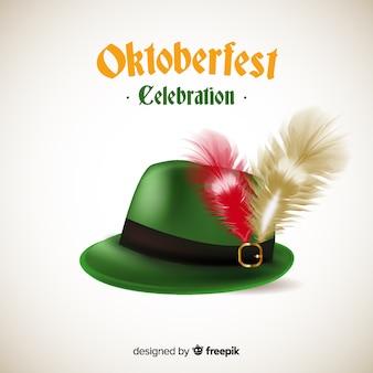 オクトーバーフェスト古典的なチロルの帽子の背景