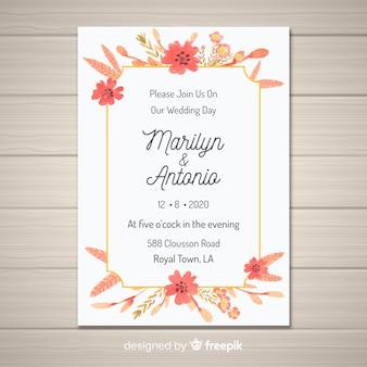 ゴールデンフレームと花の結婚式の招待状