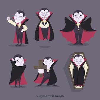 フラットデザインのハロウィン吸血鬼キャラクターコレクション